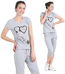 Домашняя пижама с бриджами и футболкойхлопковая женская комплект домашний трикотажный