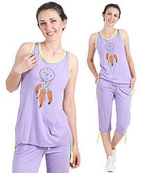 Футболка и бриджи пижама женская Индеец хлопковая домашний комплект