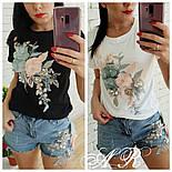 Женский костюм с декором: футболка и джинсовые шорты (2 цвета), фото 2