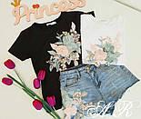 Женский костюм с декором: футболка и джинсовые шорты (2 цвета), фото 7