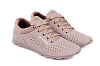 Мужские кожаные летние кроссовки, перфорация Columbia SB beige