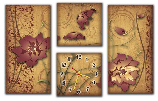 Часы на стену модульные М 35  (30х60 30х29 30х29 30х60)