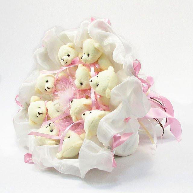 Букет из игрушек Мишки 11 бело розовый зефир
