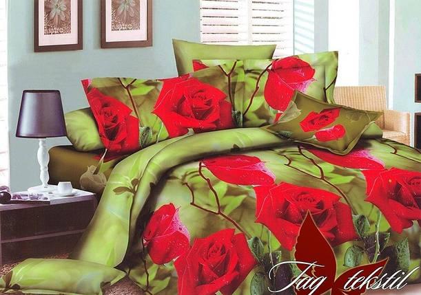 Евро комплект постельного белья с Розами, Поликоттон, фото 2
