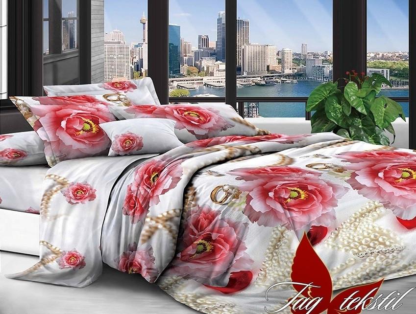 Евро комплект постельного белья с Цветами, Поликоттон