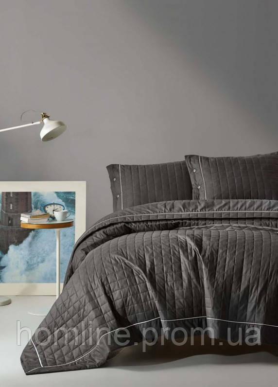 Покривало стеганное з наволочками 220*240 Eponj Home Paint k.gri сірий