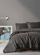 Покрывало стеганное с наволочками 220*240 Eponj Home Paint k.gri серый