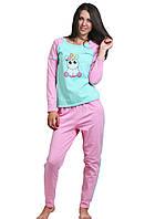 Теплая пижама женская зимняя домашняя Пони хлопковая с начесом трикотажнаякофта с брюками