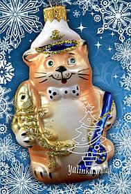 Стеклянная елочная игрушка Кот Рыбак 30248
