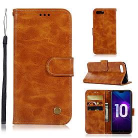 Чехол книжка для Huawei Honor 10 боковой, Premium Vintage, коричневый