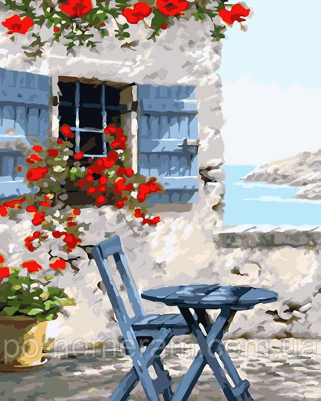 Раскраска для взрослых Домик на берегу моря