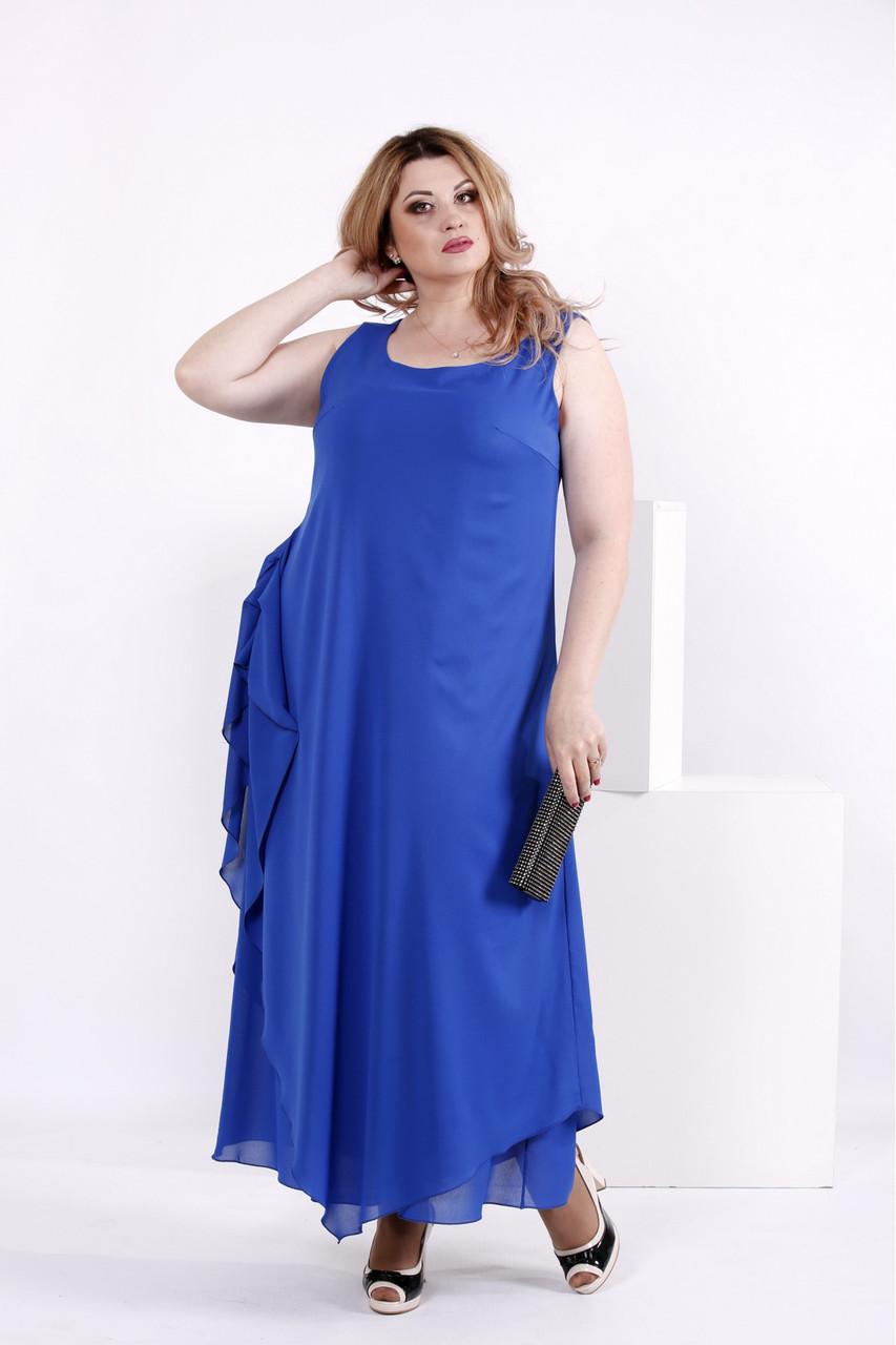 Женское шифоновое платье синего цвета 0843 / размер 42-74 / большие размеры