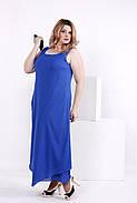Женское шифоновое платье синего цвета 0843 / размер 42-74 / большие размеры , фото 2