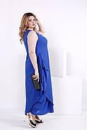 Женское шифоновое платье синего цвета 0843 / размер 42-74 / большие размеры , фото 3
