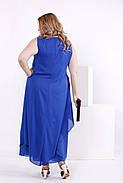 Женское шифоновое платье синего цвета 0843 / размер 42-74 / большие размеры , фото 4
