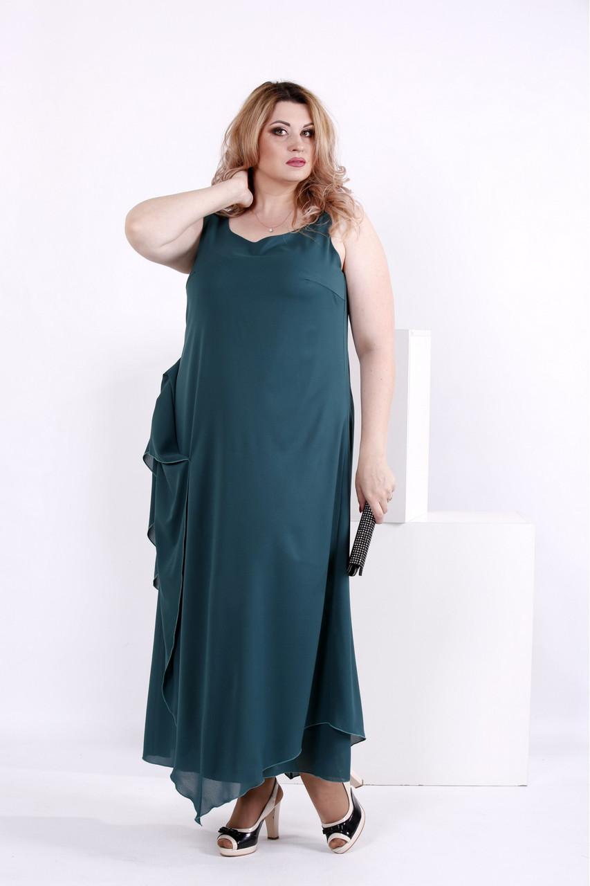 e6e649ab73f Женское шифоновое платье зеленого цвета 0843   размер 42-74   большие  размеры