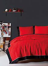 Покрывало стеганное с наволочками 220*240 Eponj Home Paint kirmizi-siyah красное с черным