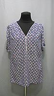 Блуза женская  батал с коротким рукавом. Цветочки. 50,52,54рр Софт. 035