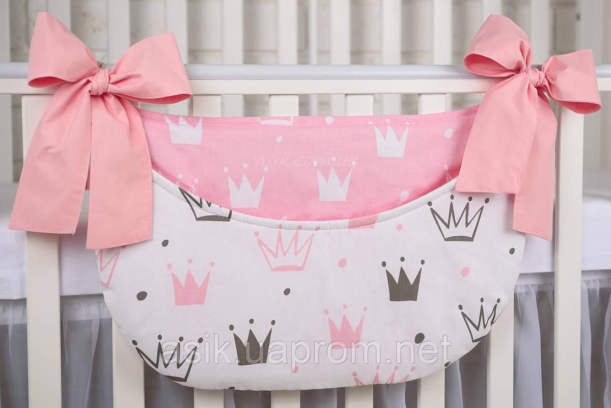 """Кишеня органайзер на дитячу ліжечко """"Рожеві корони""""."""