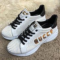 Белые женские кроссовки Gucci Rhyton Golden Stars White/Black