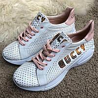 Белые кроссовки Gucci Rhyton Golden Stars White/Beige