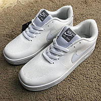 Белые кроссовки Nike Air Force 1 Flyknit Low White
