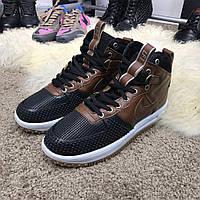 Ботинки кроссовки теплые Nike Lunar Force 1 Duckboot Brown