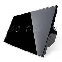 Сенсорный выключатель Livolo на 4 канала, цвет черный, стекло (VL-C702/C702-12)
