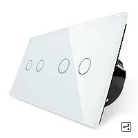 Сенсорный проходной выключатель Livolo на 4 канала 2+2, цвет белый, стекло (VL-C702S/C702S-11)