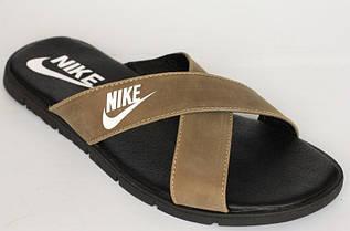 Шлепки копия Grizzly Nike кожаные коричневые