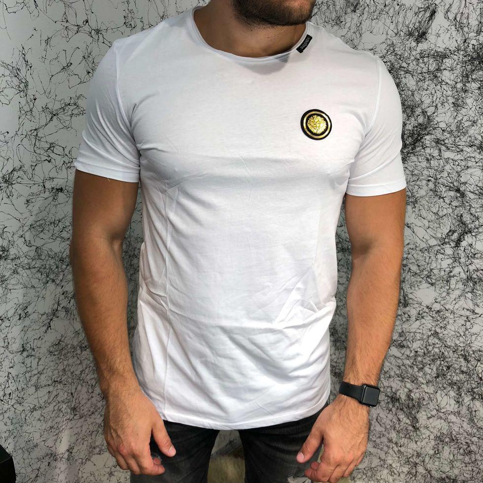 Брендовая мужская футболка Balmain T-Shirt Gold Tiger White