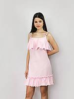 Однотонная розовая ночная рубашка с воланами ТМ Perrito