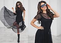 Платье двойка, блуза с напуском, юбка-клешь, длина за колено, черного цвета, размеры 42,44,46 код 2046Т