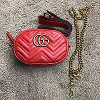 Женская красная сумочка Gucci Belt Bag GG Marmont Red