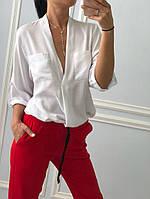 Женская шикарная невесовая рубашка белого цвета, фото 1