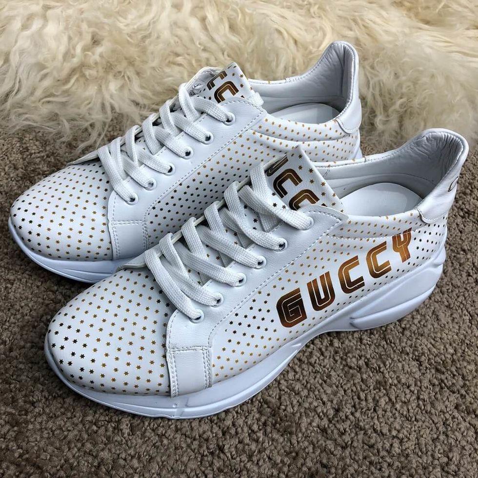 Жіночі кросівки білі Gucci Rhyton Golden Stars All White