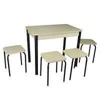 Кухонный комплект Классик (стол+4 табурета) 93х60х75 ноги металл черные ТМ Тавол