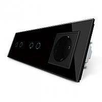 Сенсорный выключатель на 4 линии с розеткой Livolo, цвет черный, стекло (VL-C702/C702/C7C1EU-12)