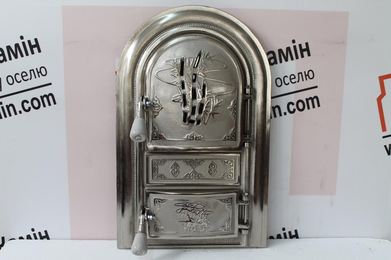 """Дверцы печные со стеклом """"Бамбук"""" 345х560 Чугунная дверка для печи барбекю"""