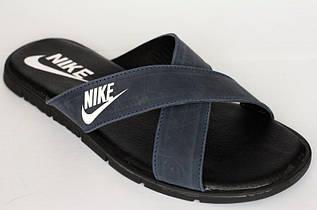 Шлепки копия Grizzly Nike кожаные синие
