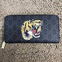 Кошелек Gucci Wallet Tiger GG Supreme Black Zip Around