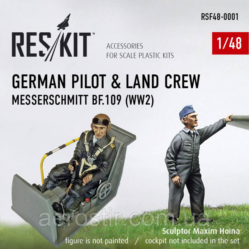 German pilot & land crew Messerchmitt Bf.109 1/48 RES/KIT F48-0001