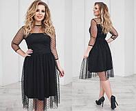 Платье из сетки-трикотаж, юбка-клешь, длина по колено, черного цвета, размеры 48,50,52,54 код 2099Т