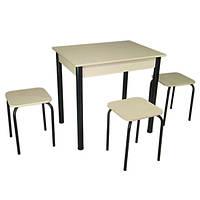 Обеденный Комплект Ретта (стол + 3 табурета) 80х60х75 металл черный  ТМ Тавол