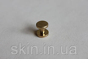 Латунный ременной винт, диаметр шляпки - 10 мм, высота - 6 мм, диаметр ножки - 4 мм, артикул СК 5266, фото 2