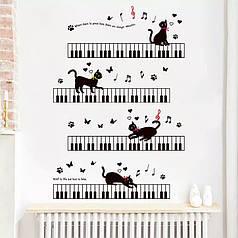 """Наклейка на стену, наклейки музыкальную школу, детский сад """"музыкальные коты на пианино 80*125см (лист60*90см)"""