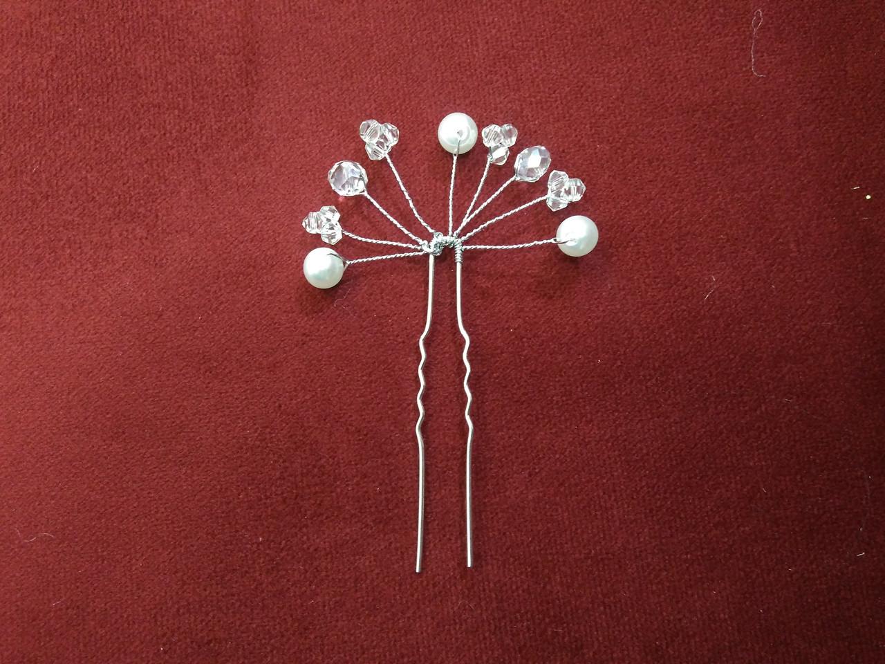 Шпилька с камнями и бусинами для свадебной и вечерней прически