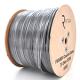 Коаксиальный кабель RITAR B305-F660BV, 1,02 мм.CCS, 80x0.12m CCA желтый экран, 75 Ом, FPE, оболочка 6,91мм черная PVC, катушка 305м