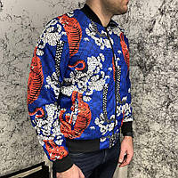Куртка мужская Gucci Flora Tiger Print Silk Bomber Jacket Blue