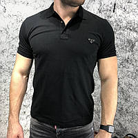 Мужская футболка поло черная Prada Polo Delta Logo Black, фото 1